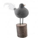 Beton Vogel Mio, mit Fuß, L10cm, B9cm, H20cm, grau